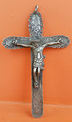 """Antique Genuine Colonial Big Cross Crucifix Spanish Sterling Silver 7.05""""  1800s"""