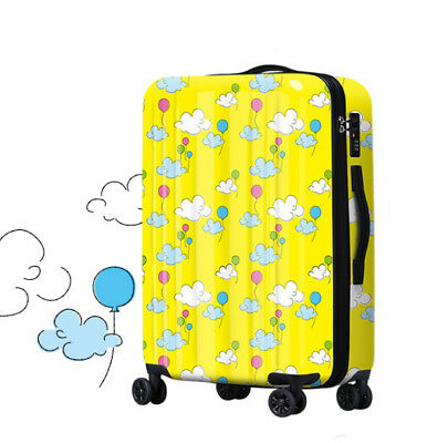A381 Universal Wheel Yellow Balloon Cloud Travel Suitcase Luggage 24 Inches W