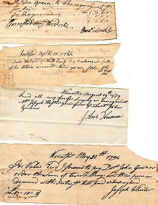 18th Century, Revolutionary War soldiers,Worcester, Mass;, signed document group