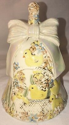 "Rare Large Vintage Chicks in Basket with Flowers in Shape of a Bell 7 1/2"" VGC"