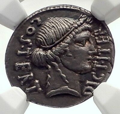 JULIUS CAESAR Authentic 46BC Ancient Silver Roman Coin THAPSUS BATTLE NGC i71710