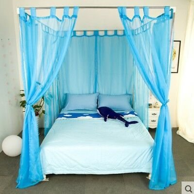 Single Blue Yarn Mosquito Net Bedding Four-Post Bed Canopy Curtain Netting .