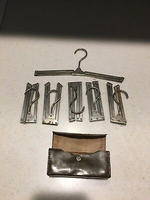 Six Vintage Germany Travel Clothes Hangars with Case