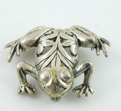 Filigree Leaping Frog Toad Sterling Silver Brooch Pin