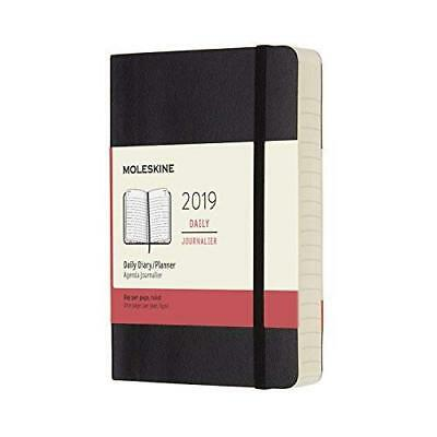 2019 Moleskine Black Pocket Daily 12-Month Diary Soft BOOK NEW