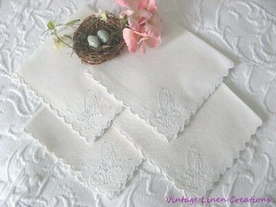 ROMANTIC BRIDE'S BASKET * Antique CUTWORK & Embroidery * Vintage TEA NAPKIN SET