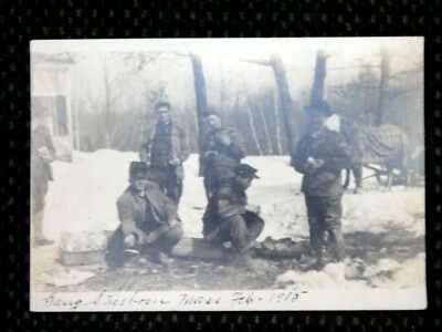 1915 antique GANG SHERBORN MA~MEN EATING LUNCH photo RPPC postcard HORSE,SNOW