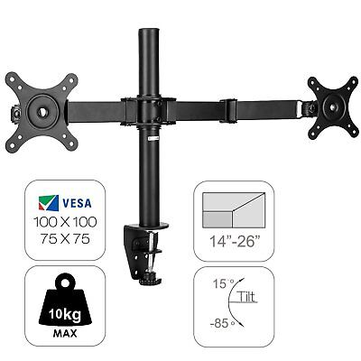 Adjustable Universal 2 Arm Two LCD HD LED Monitor Stand TV Desk Mounts Brackets