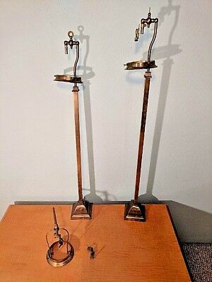 Lot Of Two Antique Brass Gas Light Lamp Fixtures With Strikers And Flint