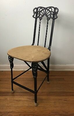 Vintage Early Cast Iron Ornate Metal Bistro  Folding Chair Excellent Ships Fast
