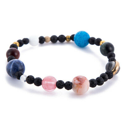 1pc weave bracelet Galaxy solar system Eight planets theme natural stone beads