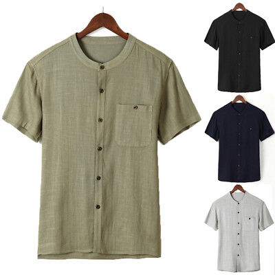 AU Mens Cotton Shirts Casual Shorts Sleeve Holiday Tees Pure Color Tops S-4XL
