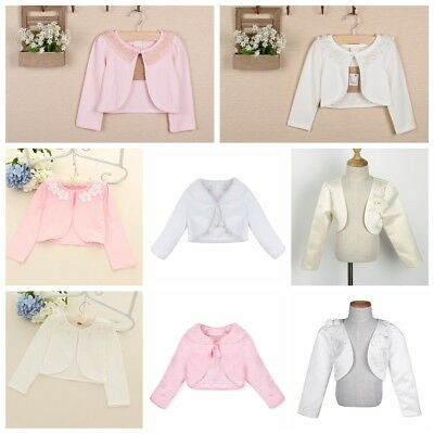 Kids Girl Bolero Jacket Shrug Short Cardigan Sweater Dress Cover Wedding Party