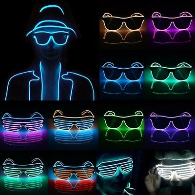 LED EL Wire Glasses Light Up Glow Sunglasses Eyewear DJ Nightclub Party 3V Drive
