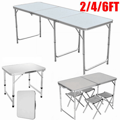 Heavy Duty 2/4/6FT Portable Folding Picnic Table Camping Party Large Small BBQ