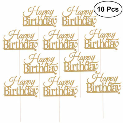 10 Pcs Happy Birthday Cake Topper Light Portative Nontoxic Topper for Decoration