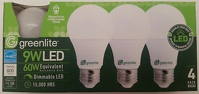 Greenlite LED Light Bulbs 9W 60W Equivalent Dimmable Super Long Life 3000 Lumens