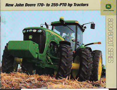 John Deere 8020 and 8020T 170 to 255hp Tractor Brochure Leaflet
