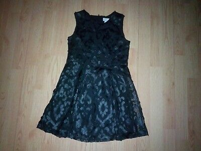 Childrens Place Girls Black Embroidered Tulle Dress Size 8