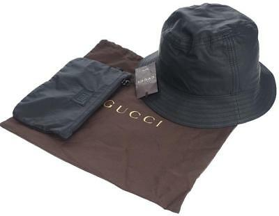 NEW GUCCI BLACK Lambskin Leather Bucket Hat W zip Pouch Small Unisex ... b2bfb72ec96