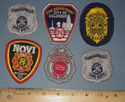 Fire Dept Rescue Firefighter Cap Hat Patch - Lot of 6 Patches - SC OH MI KY