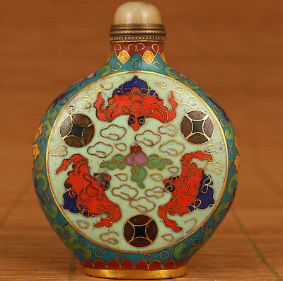 Rare antique Chinese Old Cloisonne Hand Painting Bat Figure Snuff Bottle
