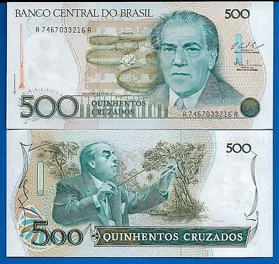 Brazil P-212 500 Cruzados Year ND 1986 Uncirculated Banknote