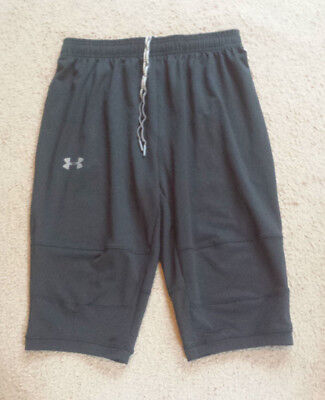 Under Armour Black Fitted Long Fitness Shorts   Sz Md   ** Excellent **