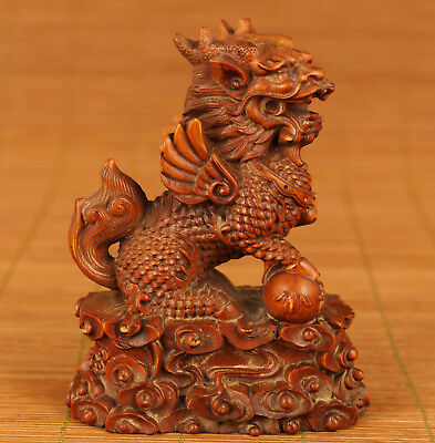 Rare Chinese Old Boxwood Hand Carved Kirin Figure Statue Feng Shui decoration