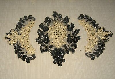 Gorgeous Antique Black Beaded Trim Pieces - 20 in all
