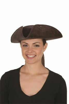 b1d4fbe6 Adult Brown Pirate Tricorne Hat Tri-Corner Tricorn Faux Leather Colonial  Costume