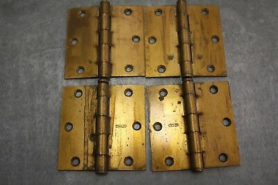 "4 VINTAGE 3 1/2"" x 3 1/2"" STANLEY Brass plated Door Hinges"