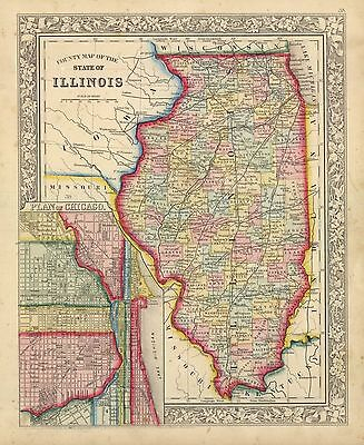 """1863  """"County Map of the State of Illinois"""""""