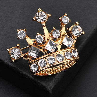 Personality Gold Color Crystal Rhinestone Brooch Lapel Pin Crown Coat Suit D