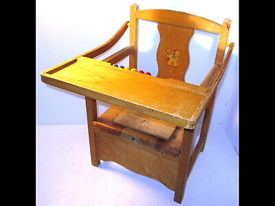 Vintage Child/Baby/Toddler Wood Potty Chair/Booster Flip Up Seat w/ - VINTAGE CHILD/BABY/TODDLER WOOD Potty Chair/Booster Flip Up Seat W