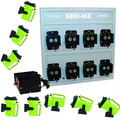 Wall Mount Charging STATION Sho-ME with 8 Heavy Duty Spot Flood LED Flashlights