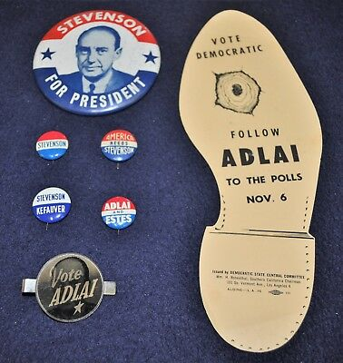5 Vintage 1952-56 Adlai Stevenson Political Camp Pinback Buttons 1 Tie-Bar &Sole