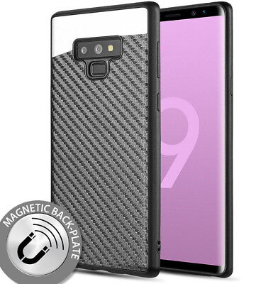 for Samsung Galaxy Note 9 Magnetic Backplate Black Carbon Fiber Hard Rubber Case