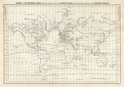 1844 Black Map or Chart of the Isothermal Lines showing the World's Temperatures