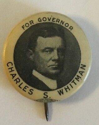 "7/8"" For (NY) Governor Charles S. Whitman Political Campaign Pinback for Charity"