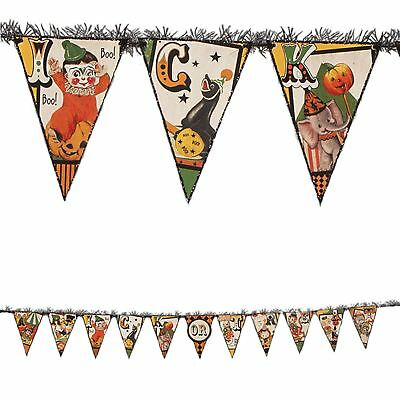 Bethany Lowe Trick Or Treat Circus Garland Banner Retro Vintage Halloween Decor