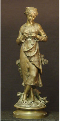 """Charles Anfrie (French, 1833-1905) """"french Country Woman"""" Bronze Sculpture"""