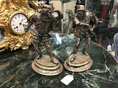 19Th Century Pair Of French Bronze Sculptures Silver Gilt By Emille Guillemin