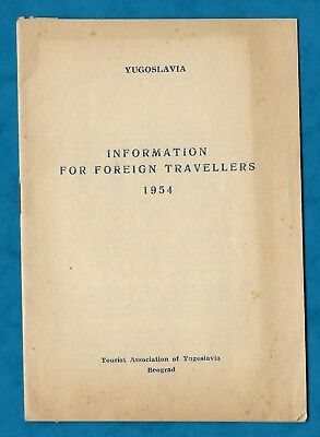 1954 Information Booklet From The Tourist Association Of Yugoslavia