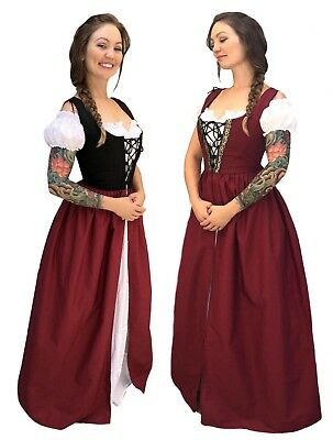 Renaissance Medieval Wench Princess Costume Skirt Bodice Chemise Irish Overdress