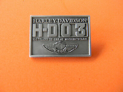 "Harley Davidson 100th Anniversary PIN  w/ winged logo, H-D 03  pewter 1"" rectang"