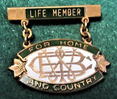 WOMEN'S INSTITUTE of BRITISH COLUMBIA LIFE MEMBER -FOR HOME AND COUNTRY -BADGE
