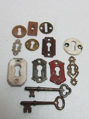 Antique Lot of Skeleton Key Hole Covers Escutcheon Plates and 2 Skeleton Keys