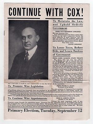 1922 CHANNING COX Governor Massachusetts BOSTON Political BROCHURE Campaign MASS
