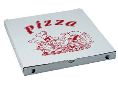 100 Pizzakarton Pizza Karton Pizzabox to go 34 cm Pizzakartons weiß (71934)